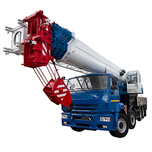 Red mobile crane for sale, front view